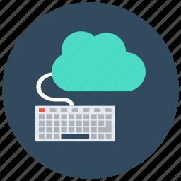 cloud computing, cloud data, cloud monitoring, data center, keyboard icon