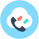 cloud communication, cloud computing, data communication, online call, receiver icon