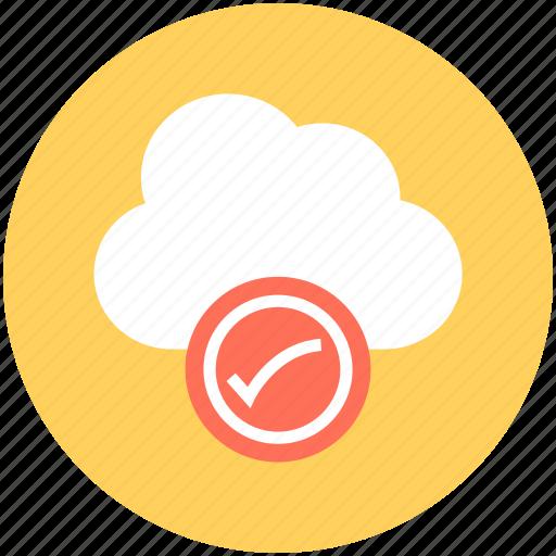 cloud acceptance, cloud checkmark, cloud computing, cloud network, wireless technology icon