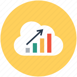 analytics, bar chart, cloud computing, cloud graph, online graph icon