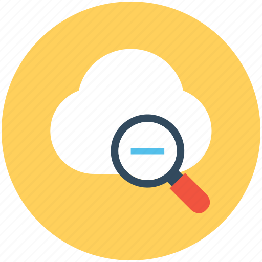 cloud, cloud computing, cloud search, magnifier, zoom out icon