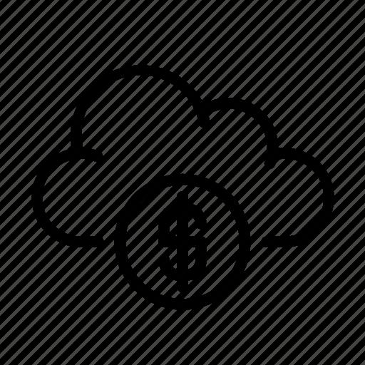 cloud computing, coin, money, online, ui icon