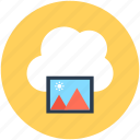 cloud computing, cloud image, cloud photo, online media, online photos icon