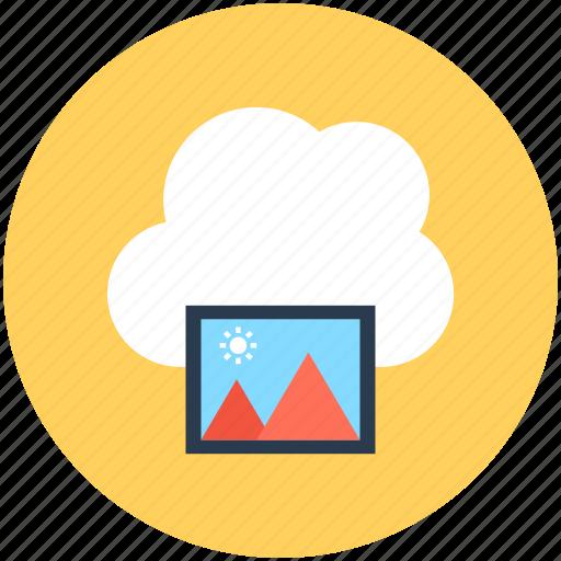 cloud computing, cloud image, cloud photo, online media, online photos icon