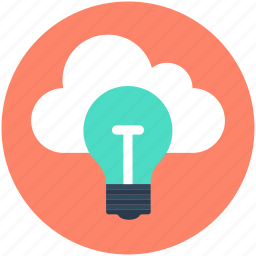 bulb, cloud computing, cloud solution, server solution, technology icon