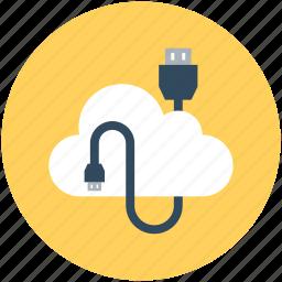 cloud computing, cloud connection, data storage, usb cord, usb plug icon
