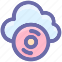 cd, cloud, cloud computing, multimedia, music note icon