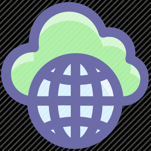 cloud globe, cloud wireframe globe, cloud world, planet, universe, world, world globe icon