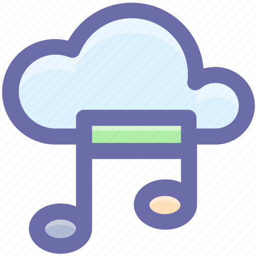 cloud and music note, cloud music concept, cloud with music sign, music cloud, musical cloud icon