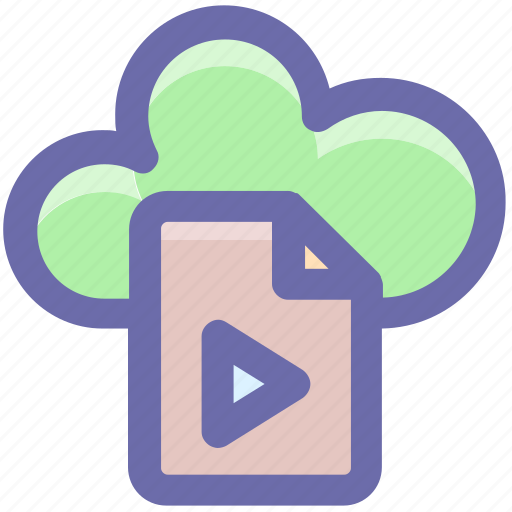 cloud page, document, file, media, page, paper, play icon