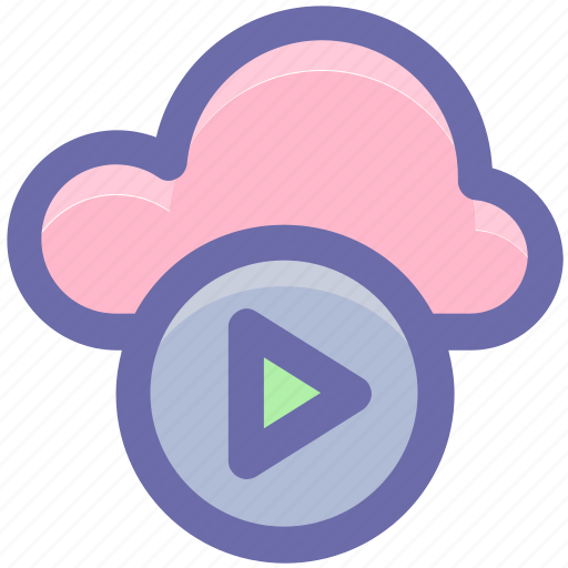 arrow, buttons, cloud, cloud computing, multimedia, play, round icon icon