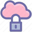 cloud network safety, cloud networking safety, internet security, internet security padlock, locked internet, safe internet icon