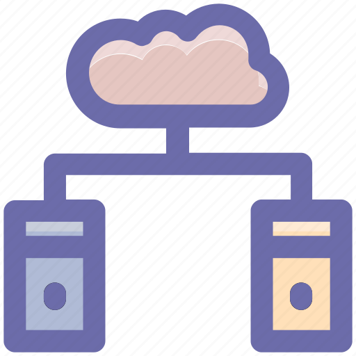 cloud, cloud computing, cloud data, connection, database, servers, storage icon