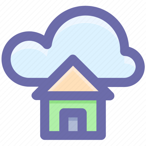 cloud and hut, cloud computing home, cloud network server, cloud server, home and dream cloud, internet cloud technology icon