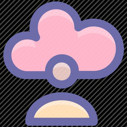 cloud, cloud account, cloud user, computing, man icon