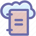 book, cloud, cloud library, computing, education, knowledge icon