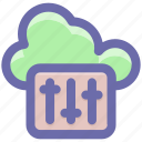 adjuster, cloud, music adjuster, music volume, volume adjuster, volume controller icon
