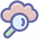 cloud computing concept, cloud magnifier, cloud with magnifier, searching cloud computing, sign magnifier icon