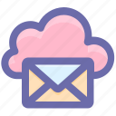 cloud computing mail, cloud internet mailing, cloud with envelope, cloud with mail, internet mail, mail cloud icon