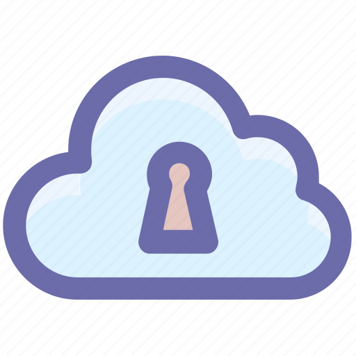 cloud computing, cloud internet security, cloud key hole, cloud technology concept, cloud with key hole icon