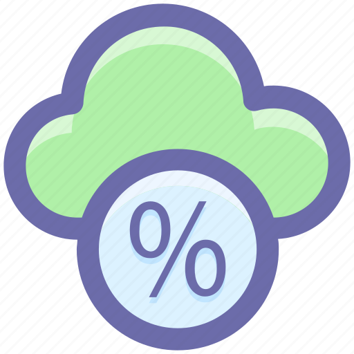 cloud, cloud computing, networking, percentage, percentage cloud icon