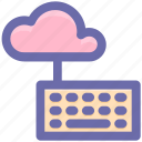 cloud computing, cloud data, cloud keyboard, cloud monitoring, data center, keyboard icon