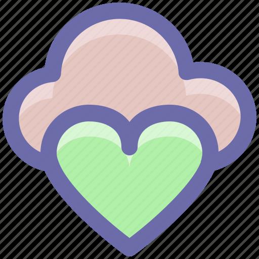 Heart, online dating, cloud computing, cloud love, cloud heart, online romance, online love icon