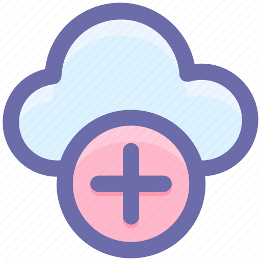 add, add-cloud, cloud, cloud computing, line-icon, plus, storage icon