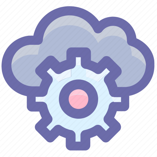 cloud computing, cloud gear, cloud network settings, cloud technology, internet cloud with gear, internet configuration setting, settings concept icon