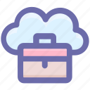 bag, business, business bag, cloud, cloud computing, office bag, suitcases icon