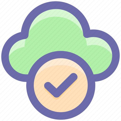 approve network, checkmark, cloud computing, cloud internet, cloud network icon