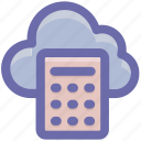 calculator, cloud, cloud calculator, cloud computing, network, storage icon