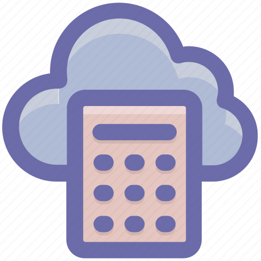 calculator, cloud, cloud calculator, cloud computing, network, storage icon