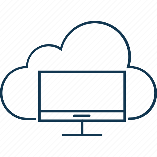 cloud computing, cloud lcd, cloud screen, lcd, led, monitor screen icon
