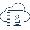 cloud, cloud address book, cloud directory, computing, phone directory icon