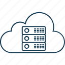 data cloud, cloud computing, database, cloud hosting, network server icon
