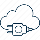 cloud hosting, cloud computing, power plug, cloud plugin, internet connection icon