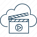 cloud clapper, online cinema, online entertainment, multimedia cloud, online multimedia icon