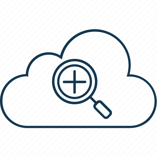 cloud computing, cloud zoom, magnifier, magnifying lense, search glass, zoom tool icon