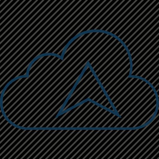cloud, cloud direction, cloud gps, cloud navigation, cloud upload, computing icon