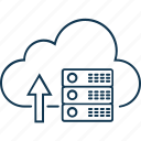 data cloud, cloud computing, cloud hosting, increase cloud server, network server icon