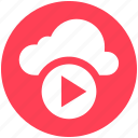 2, cloud, cloud music, multimedia, music, play, round icon icon