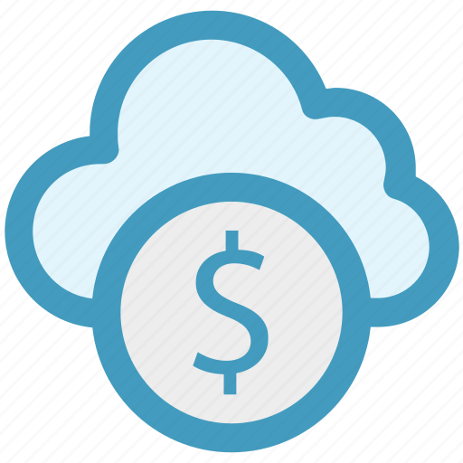 cloud and dollar, cloud currency concept, cloud dollar sign, dollar with cloud, earning concept icon