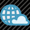 cloud, global, global cloud network, international cloud computing, universal cloud network, worldwide cloud network icon