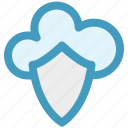 cloud, cloud and shield, safe network, secure networking, security, shield