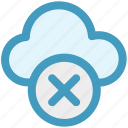 cloud, cloud computing, cloud sign, error, rejected, sign icon icon