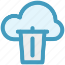 cloud and dustbin, cloud computing concept, cloud internet recycling, cloud recycle bin, cloud with dustbin icon