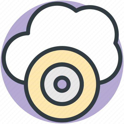 Cd, cloud media, cloud multimedia, cloud network, online media icon - Download on Iconfinder