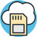 cloud network, cloud storage, digital storage, memory card, sd card icon