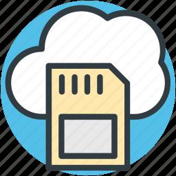 cloud network, cloud storage, digital storage, memory card, sd card icon